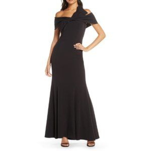 Eliza J Off the Shoulder Bow Detail Trumpet Gown